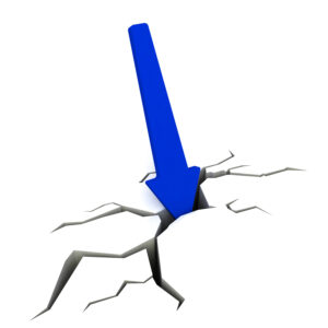 Blue Downward Arrow Showing Financial Collapse