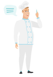 Caucasian chef cook with speech bubble. Chef cook giving a speech on conference. Chef cook with speech bubble coming out of his head. Vector flat design illustration isolated on white background.